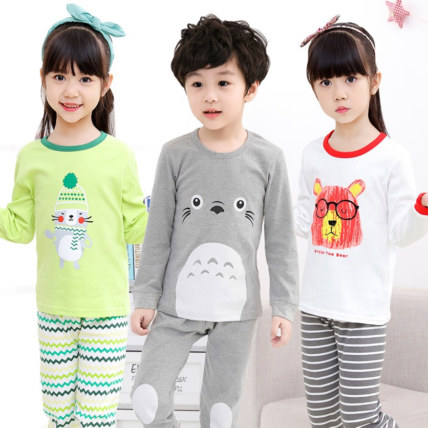Aumumn Winter Children Clothes Kids Clothing Set Boys Pajamas Sets Totoro Animal Nightwear Pajamas Girls Sleepwear Baby Pyjamas baby boy girls kid cartoon clothing pajamas sleepwear sets nightwear outfit children clothes