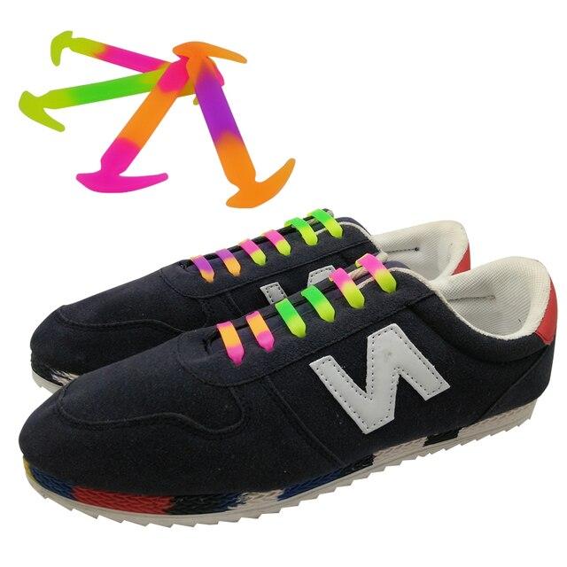 b8d4c9e4c55 12 unids set Venta caliente tie color del gradiente perezoso ningunos Cordones  elásticos del zapato