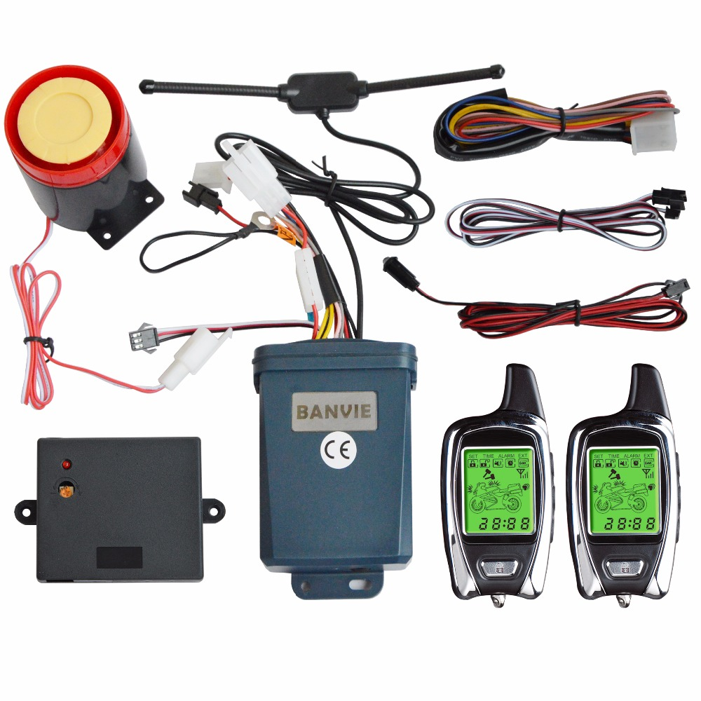 BANVIE OEM SPY 2 Way Motorcycle Motorbike Security Burglar Alarm System with Remote Engine Start Stop