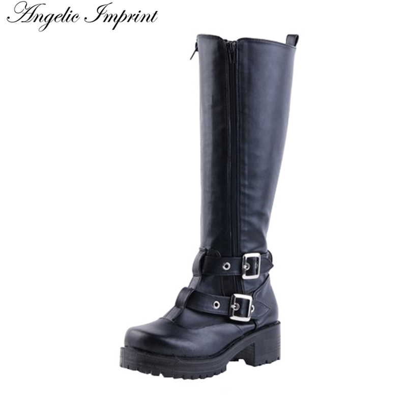 Women Buckle Straps PU Leather Punk Cosplay Riding BootsWomen Buckle Straps PU Leather Punk Cosplay Riding Boots