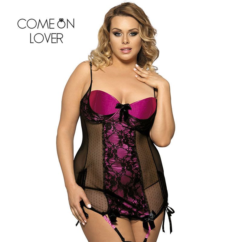Comeonlover Big Discount Red Plus Size Women Lingerie Dress Sexy Strapless Night Gown Hot Sale Lady Lenceria Sex Women RI7329