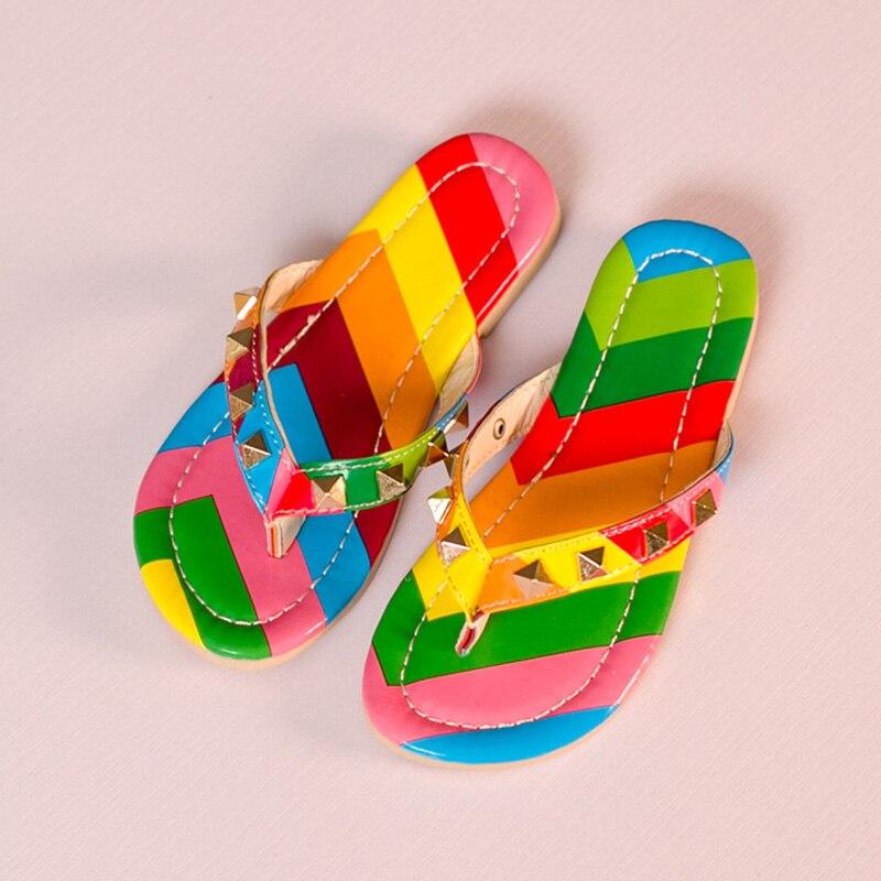 994caba9663d Kids Shoes 2016 Summer Princess Girls Rainbow Sandals Rivets Cute Girls Flip  Flops Leisure Flats Girls Slippers-in Sandals from Mother   Kids on ...