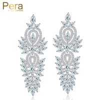 Bohemian Style Swiss Cubic Zirconia Diamond Long Big Dangling Luxury Bridal Wedding Earrings Jewelry Accessories For