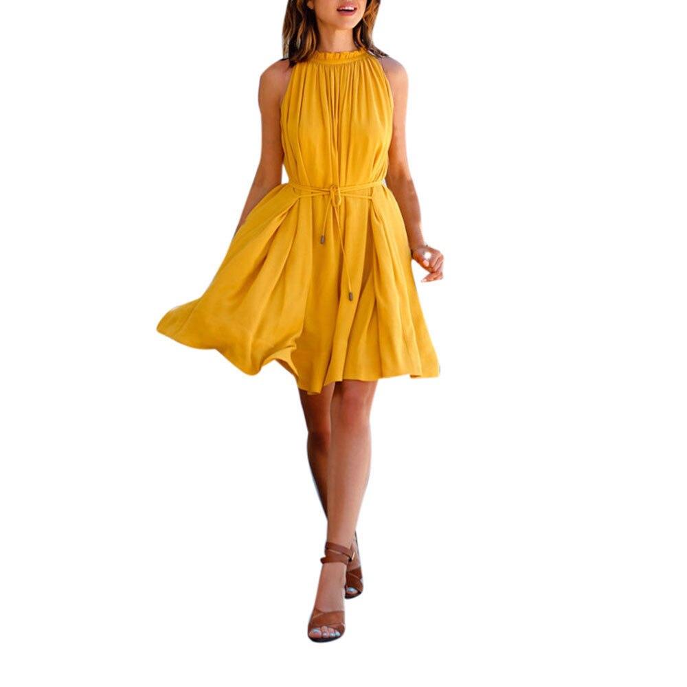 2018 de moda S-XL Sexy de la gasa de las mujeres sin mangas de la playa fiesta Casual amarillo Vintage dulce vestido de Primavera Verano vestido de mujer A20