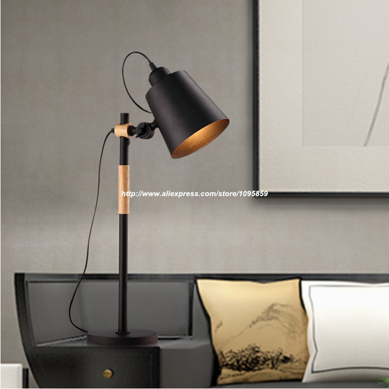 negroblanco ajustable de mesa de madera moderna lmparas luces del dormitorio iluminacin del escritorio