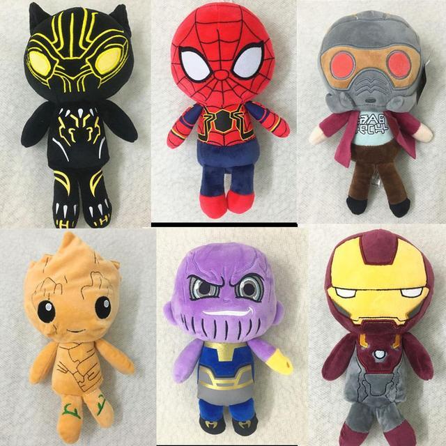 Homem De Ferro Avengers 3 Infinito Guerra/Spiderman/Thanos/Black Panther/Groot Figura de Ação Brinquedo de Pelúcia Macia bonecos de pelúcia Para As Crianças Presentes