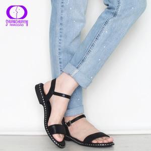 Image 5 - Женские повседневные сандалии AIMEIGAO, черные удобные босоножки на плоской подошве, большие размеры, лето 2019