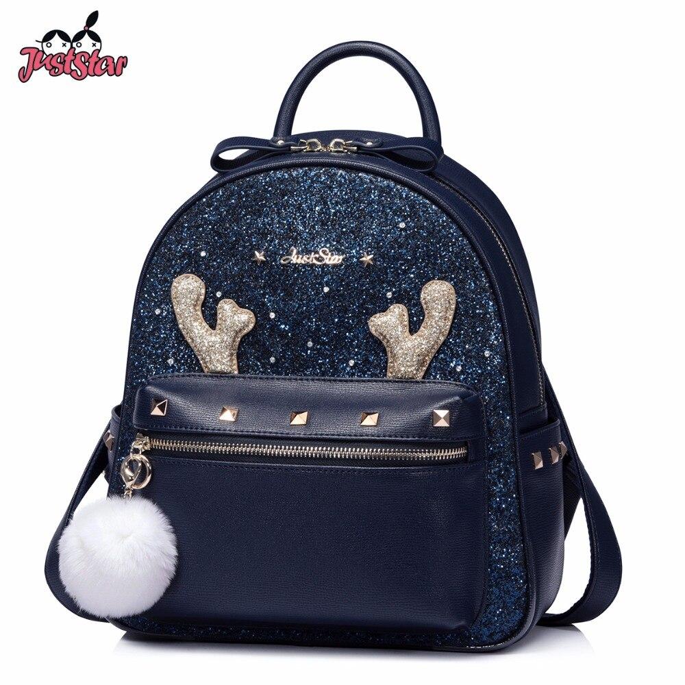 JUST STAR Women Backpack Ladies Fashion PU Leather Pendant Rucksack Female Rivet Daily Cartoon Antlers Leisure Backpack JZ4552