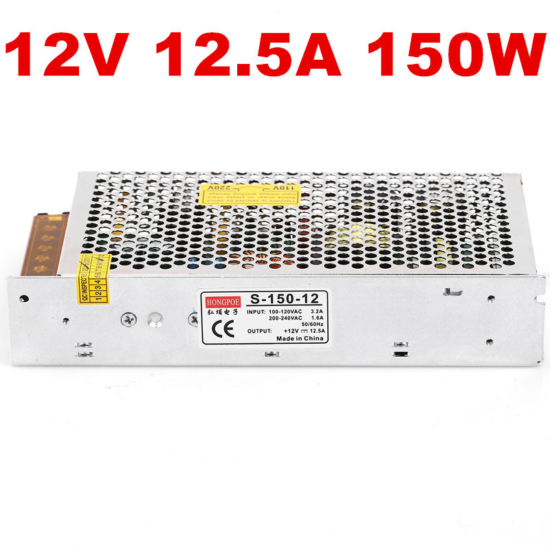 1PCS 150W 12V 12.5A Switching power supply 12V LED Strip light AC-DC power suply 150w power supply S-150-12 100-240VAC