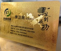 High end Glossy Metallic golden plastic business card custom plastic business cards printing 100 cards 1/lot