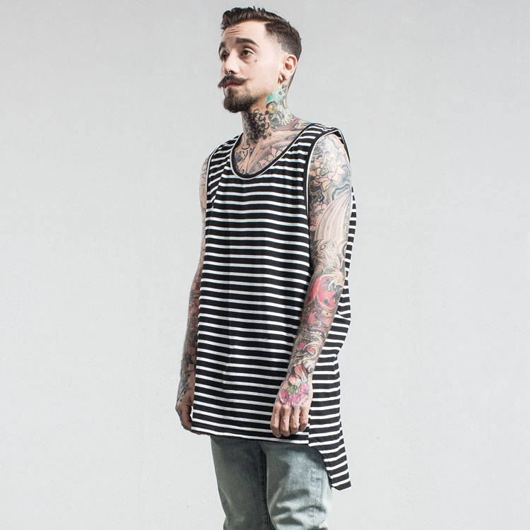 Aolamegs Tank Tops Men Extended Black White Striped Tee Sleeveless T Shirts Homme 2017 Spring Summer Hip Hop Fashion Streetwear (15)