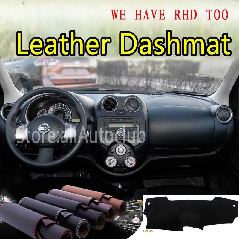 For Nissan Micra March 2010 2011 2012 2013 2014 2015 2016 Leather Dashmat Dashboard Cover Dash Carpet Custom Car Styling LHD+RHD