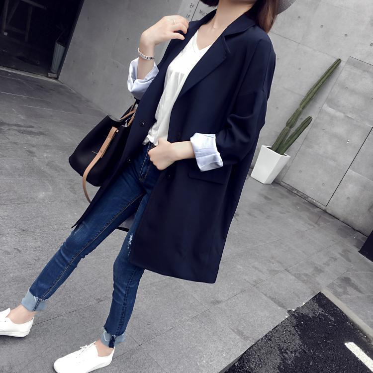 Femmes Veste Bureau Poche Automne Blazers Navy Outwear Blazer Long Mode 2018 Longue Vintage Manteau Printemps Marine De Costume Moyen B8qwBARY
