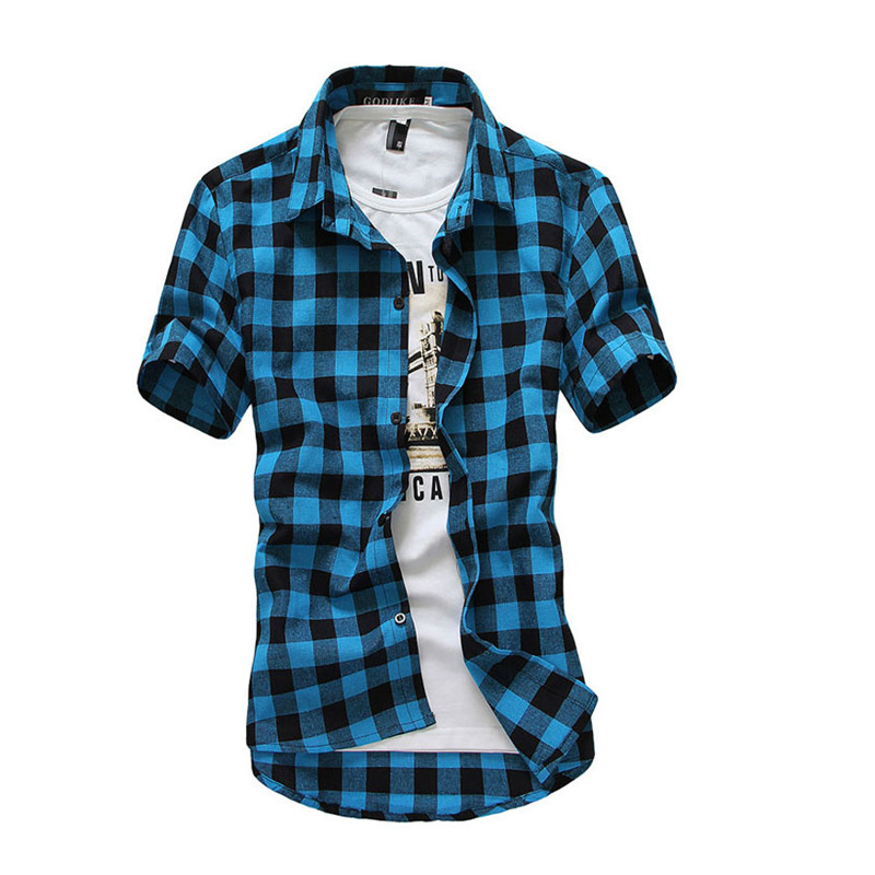Summer 2016 shirt for men fashion chemise homme red and for Pink checkered dress shirt
