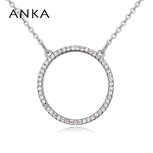 ANKA brand new necklace fashion for women luxury round shape pendant  jewelry micro paved  zircon luck necklace wedding #26128 anka luxury round sun shape pendant necklace fashion rose gold color luck fashion necklace zircon cz jewelry for women 125675