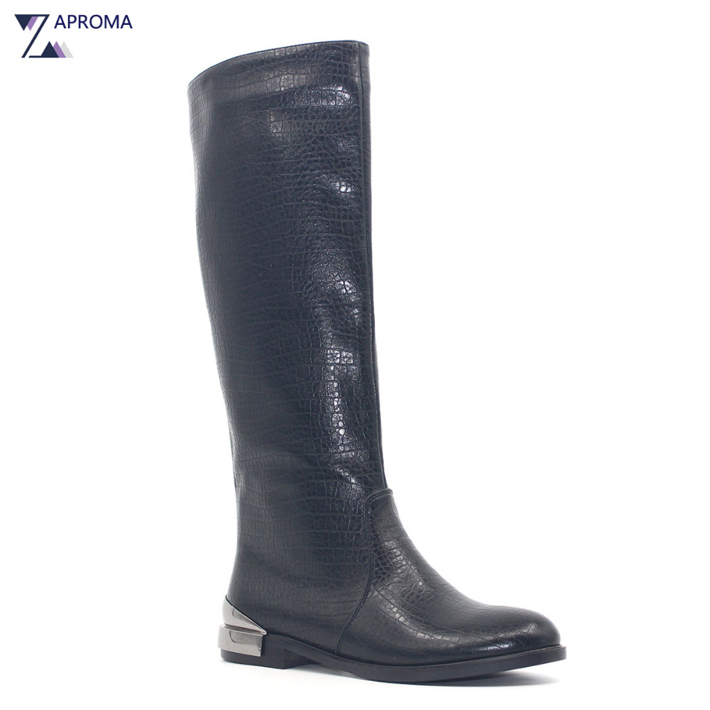 Low Heel Boots Women Black Metal Heel Flat Equestrian Boot Winter Knee High Square Heel Shoes 2017 Round Toe Zip Fleeces Combat basic 2018 women thick heel ankle boots black pu fleeces round toe work shoe red heel winter spring lady super high heel boots