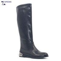 Low Heel Boots Women Black Metal Heel Flat Equestrian Boot Winter Knee High Square Heel Shoes