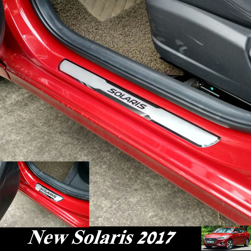 Car Stainless Steel Door Sills Scuff Plate fit for 2017 Hyundai SOLARIS Hatchback Sedan Dual Tone Door Sills