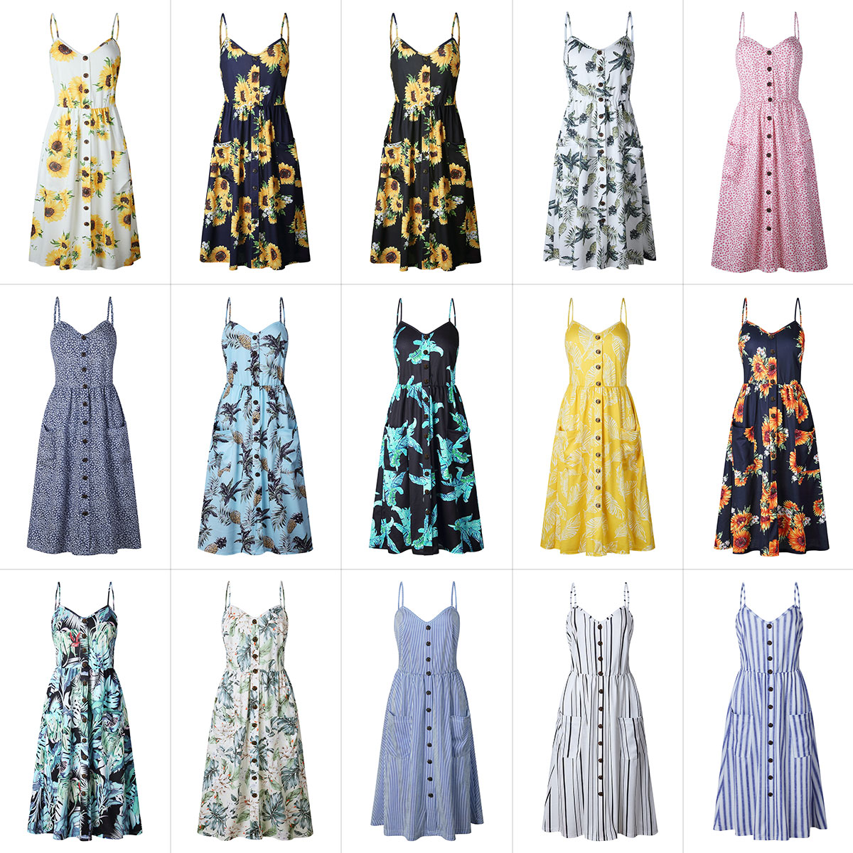 Button Decorated Print Dress 4