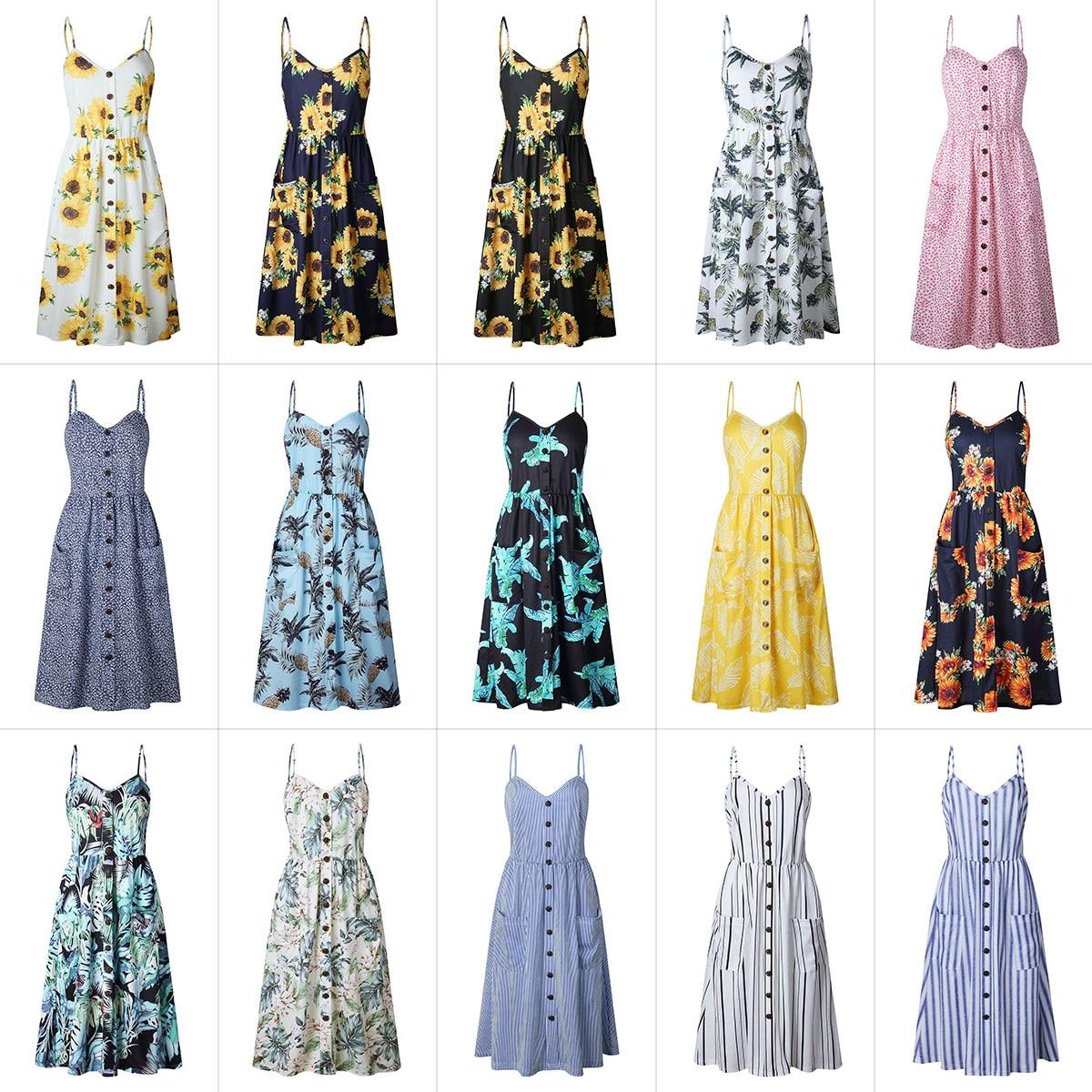 2019 Summer Women Button Decorated Print Dress Off-shoulder Party Beach Sundress Boho Spaghetti Long Dresses Plus Size FICUSRONG 4