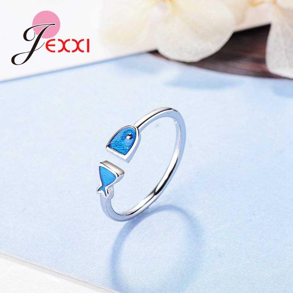 JEXXI Привлекательное кольцо с изменяющимся размером синяя рыба форма S90 серебряный цвет для женщин помолвка вечерние модные свадебные украшения подарок