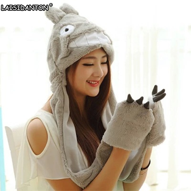 LAISIDANTON Cute Cartoon Totoro Paw Plush Hat Gloves+Scarf+Hat Fannel Animal Autumn Winter Warm Movie & TV Cosplay Women's hat cute bear paw plush gloves winter warm thermal children knitted gloves full finger mittens cartoon gloves