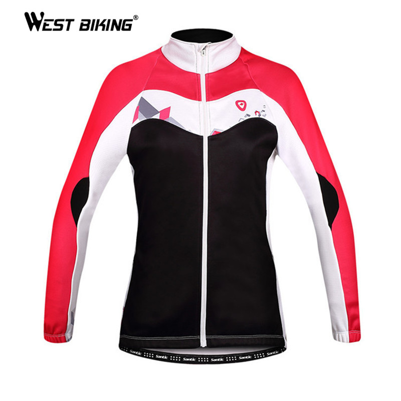 WEST BIKING Cycling Clothing Windproof Thermal Fleece Women Jacket Sport Ropa Ciclismo Bike Bicycle Cycling Jersey Winter