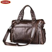 Multifunction Genuine Leather Vintage Glossy Cowhide Men Business Handbag Tote Laptop Bag Fit for 17″ Computer # PR007288