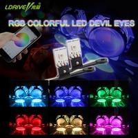 LDRIVE HOT 2PCS LOT High Quality New LED Devil Eye Demon Eye RGB Color Controlled By