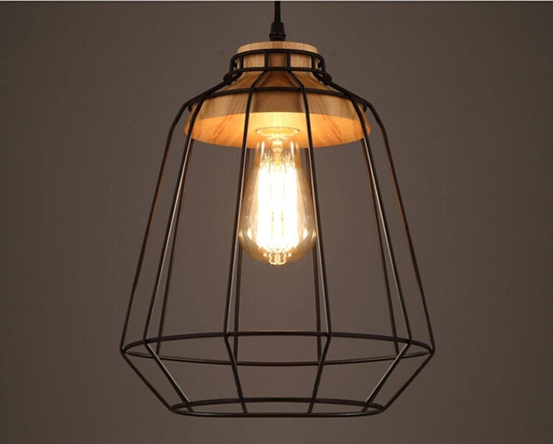 Loft industriale di legno depoca lampade a sospensione bar cucina