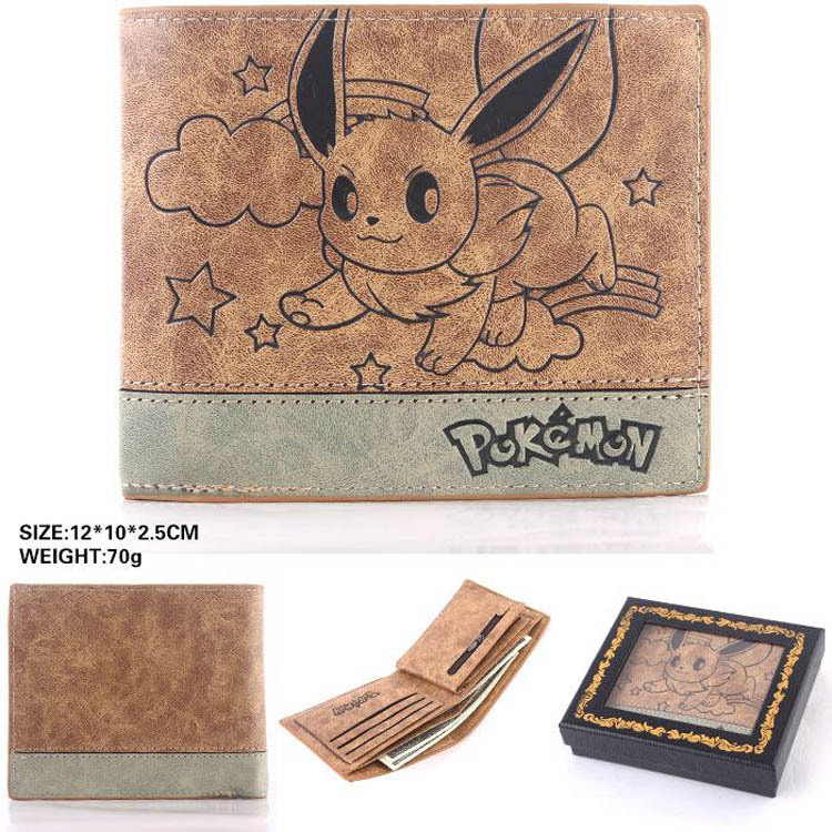 Japan anime Pocket Monster Pokemon EEVEE cosplay wallet men women short purse leather pu coin bag anime cartoon pocket monster pokemon wallet pikachu wallet leather student money bag card holder purse
