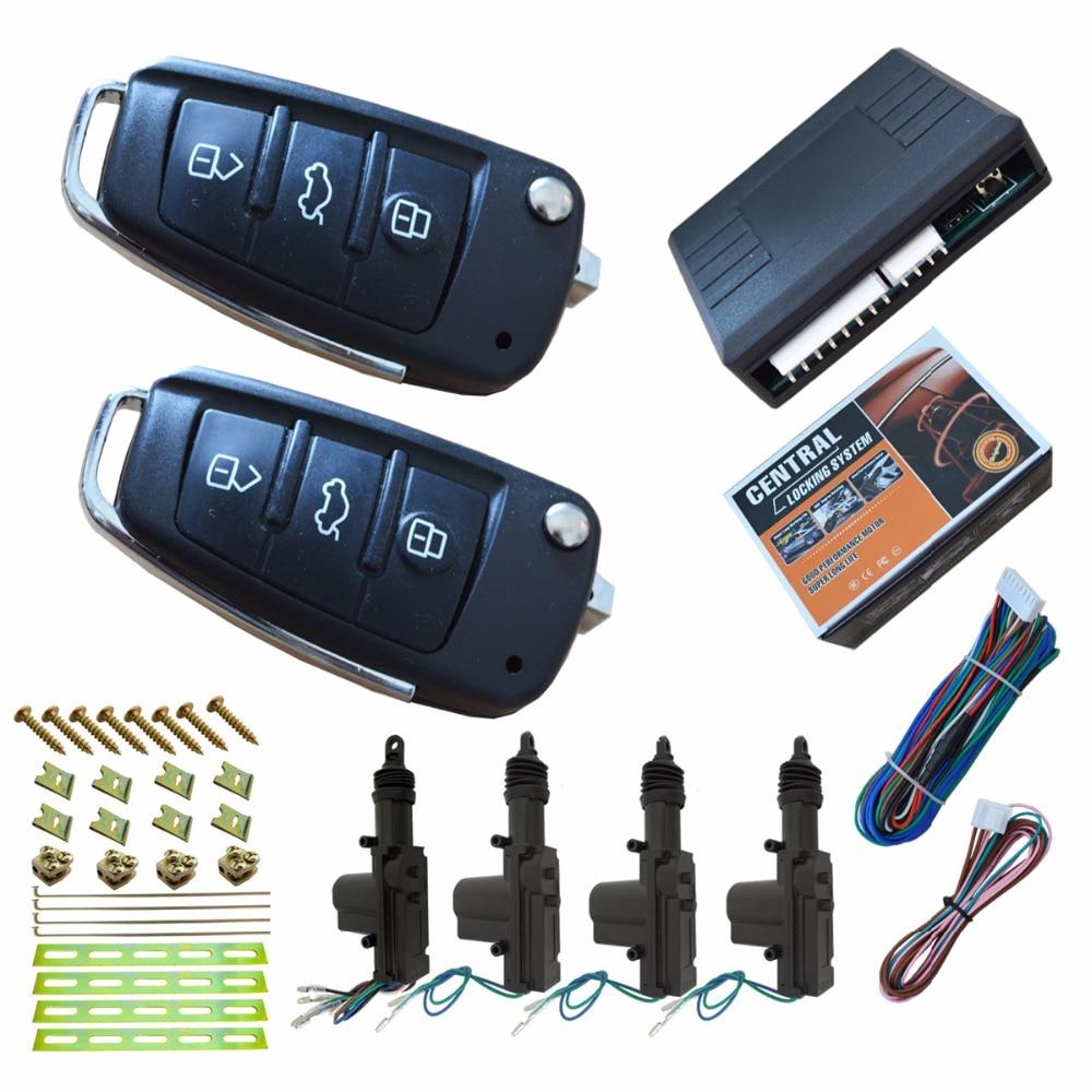 Flip key remote central lock system auto keyless entry remote open trunk 4 pcs door actuators