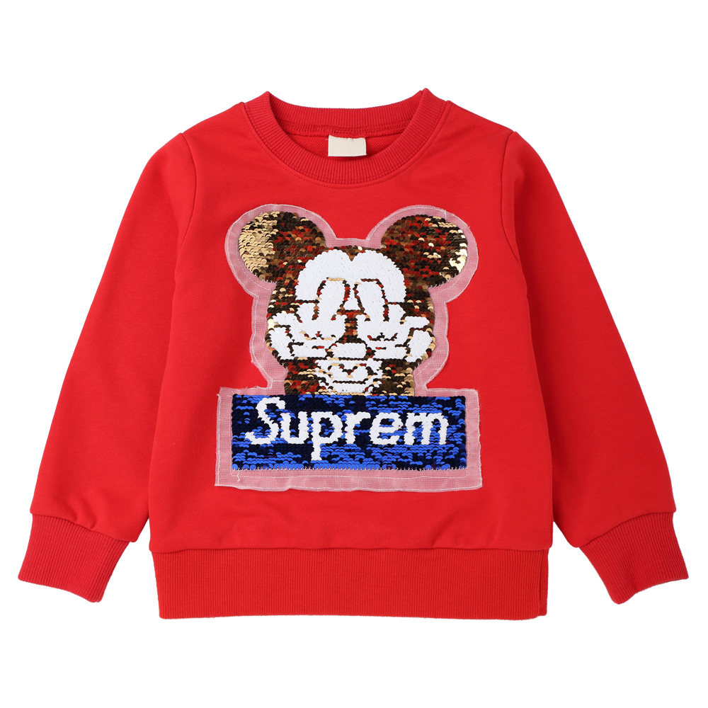 Sequins Cartoon Pattern Sweatshirts for Children Long Sleeve Tops boys T-shirts Girls Pullover Blouse Autumn 2018 Kids Clothes