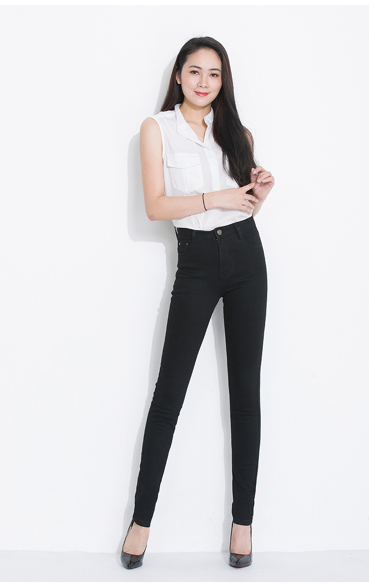 KSTUN Summer Women's Jeans Black High Waist Stretch Thin Slim Fit Skinny Pencils Pants Full Length Trousers Female Plus Size 36 12