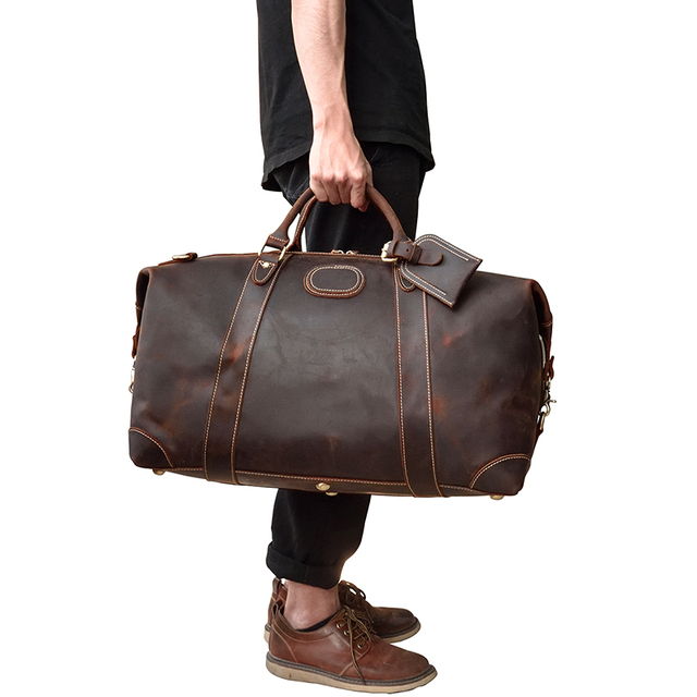 MAHEU 100% Genuine Crazy Horse Leather Men Travel Bags With Rivet Big HandBag For Male Cowhide Duffel Bag Mans Travelling Bag 6