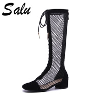 Salu black Women knee high Boots All Match High Heel square Toe Design Women Fashion summer Boots
