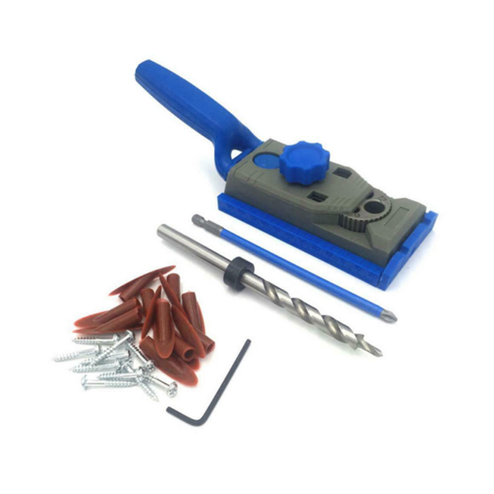 Screws Hole Doweling Jig & Newest Hole Woodworking Puncher Carpentry Wooden Pocket Wood With Guide Jig For Drill Kit Tools