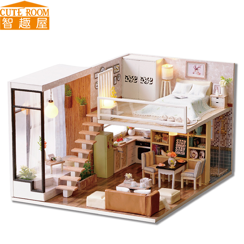 Assemble DIY Doll House Toy Wooden Miniatura Doll Houses Miniature Dollhouse toys With Furniture LED Lights Birthday Gift L020 handmade doll house furniture miniatura diy building kits miniature dollhouse wooden toys for children birthday gift craft