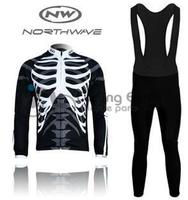 3D Silicone NW Northwave 2012 Long Sleeve Autumn Bib Cycling Wear Clothes Bicycle Cycling Jersey Bib