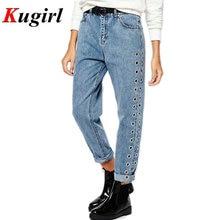 New 2017 Fashion Rivets Ripped High Waist Jeans Straight Eyelet Detail Boyfriend Denim Jeans Women Pants Female Calca Jeans