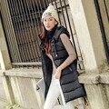 Chalecos Mujer Chaleco Real Apliques Sólidos Chaleco 2016 Otoño Y el Invierno de La Moda Coreana Abajo Damas de Suministro Directo de Fábrica