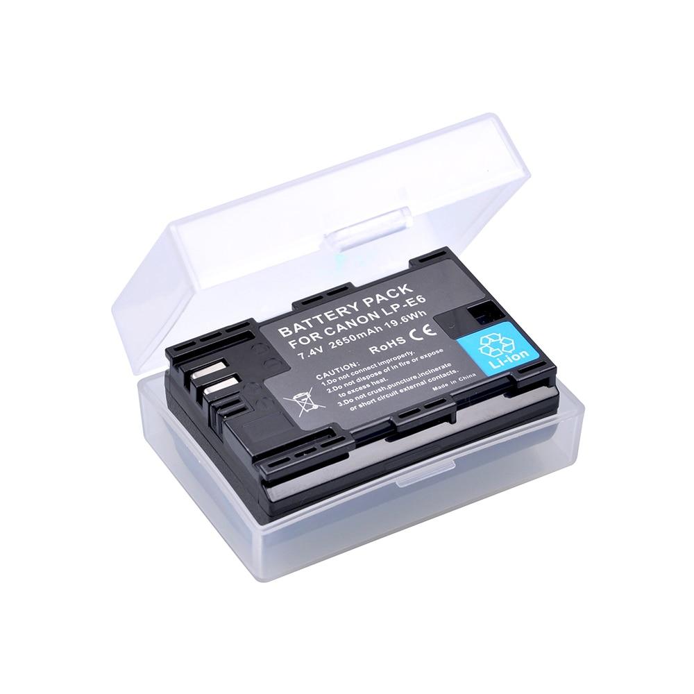 2650MaH LP-E6 LP-E6N LP E6N Battery For Canon EOS 6D 7D 60D 60Da 70D 80D 5DSR 7D Mark II 5DS 5D Mark II 5D Mark III 5D Mark IV