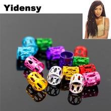 цена Yidensy 100pcs Aluminum Hair Braid Cuff Clip Hollow Tube Reggae Jamaica Loc Dreadlock Beads for Braids Twists Jewelry Accessory онлайн в 2017 году