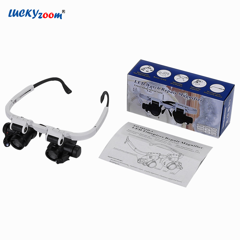 8X 23X Glasses Magnifier Eyewear Led Lamp Illuminated Jewelry Magnifier Loupe For Soldering Watchmaker Magnifying Glass Lupa 60x zoom microscope magnifier with led light illuminated standing jewelry loupe magnifier scale portable magnifying glass lupa