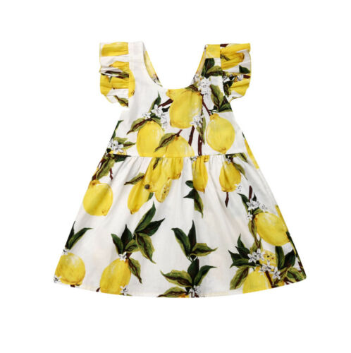 Baby Girl Clothes Sleeveless Ruffle Print DressBaby Girl Clothes Sleeveless Ruffle Print Dress