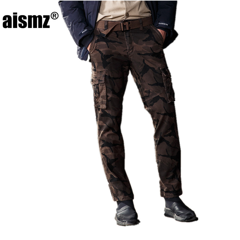 Aismz Fashion Tactical Mens Cargo Casual Pants With Belt Combat Army Active Military Work Cotton Male Plus Size Trousers 5075