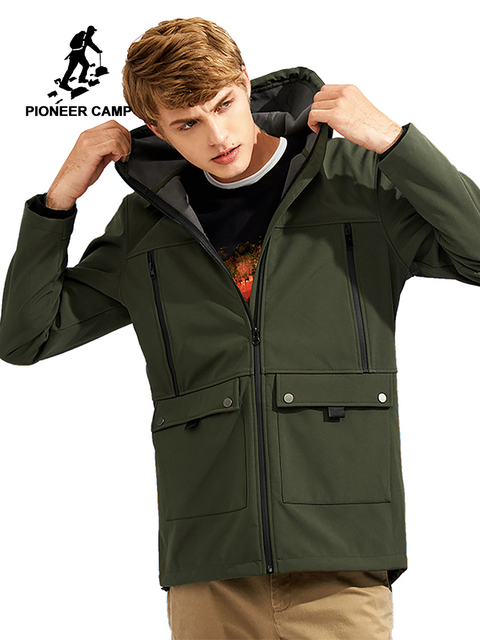 Pioneer Camp windbreaker hooded jacket coat men brand-clothing waterproof softshell casual warm fleece outerwear male AJK702378