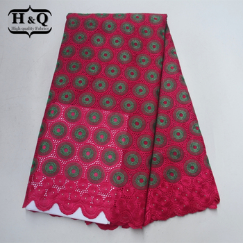 H&Q Beautiful pattern high quality African embroider Lace Fabric With Stones Swiss Voile Lace fabric Cotton 5 yards For Clothes