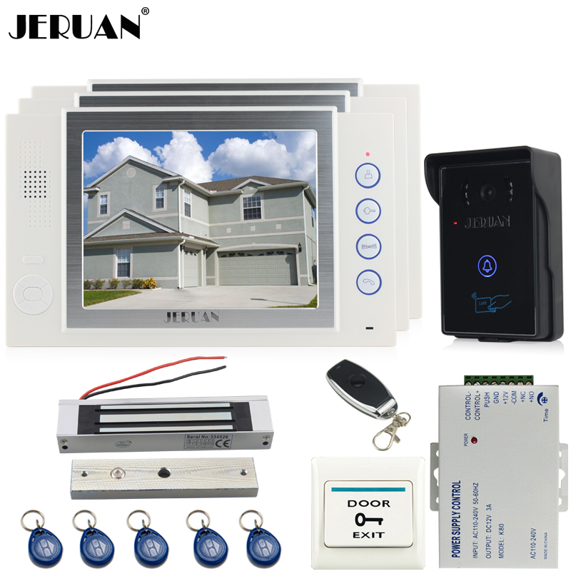 JERUAN three desk 8`` luxury LCD video door phone doorbell intercom system 700TVL Camera video recording+Magnetic lock+8GB card ada instruments prodigit mini
