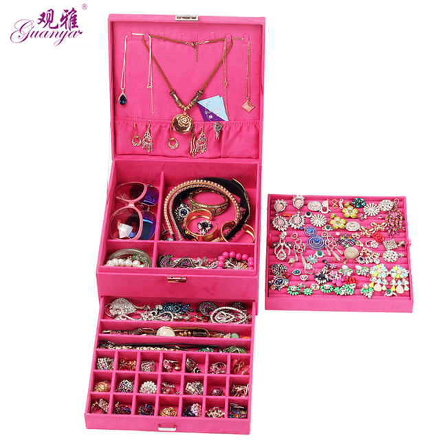 Guanya Red Pink Purple Case Velvet Wood Boxes Hot Sale Fashion Large